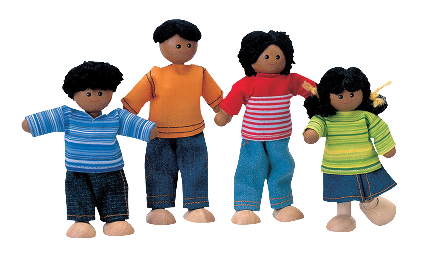 Plantoys Wooden Doll Family African American Set Of 4