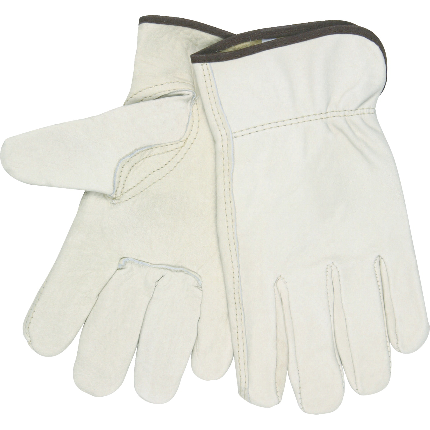 R3 Safety Unlined Driver Gloves, Medium, Leather, Cream, Pack of 2
