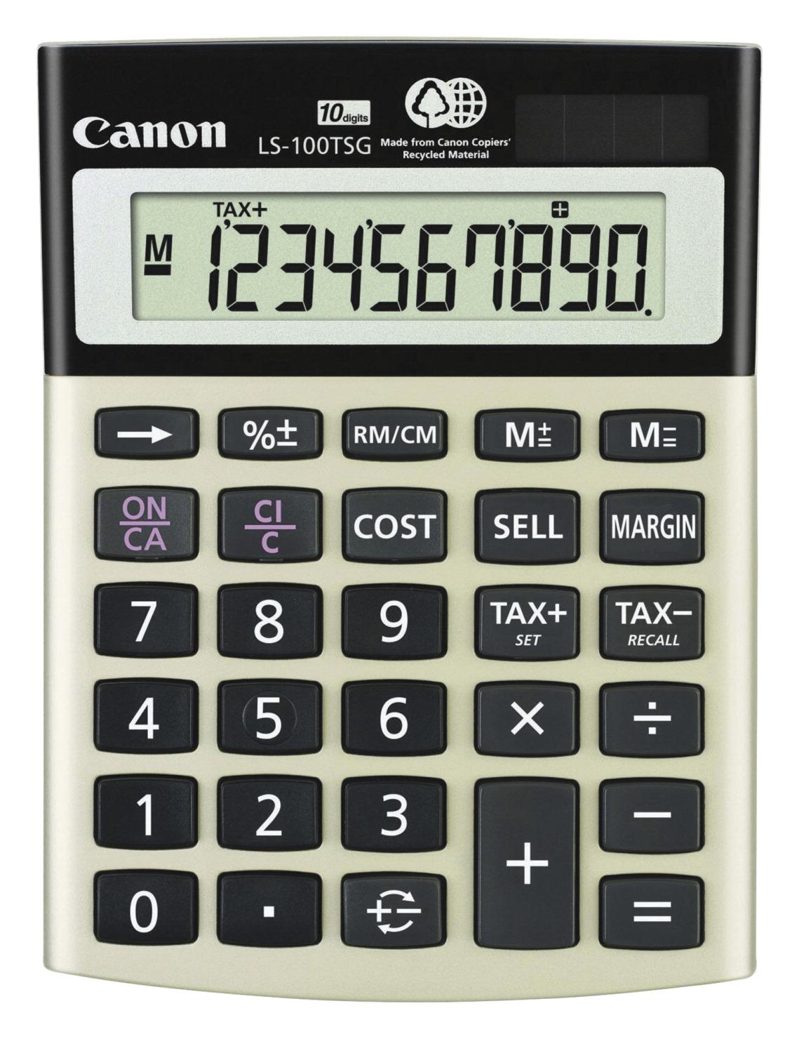 Canon LS100TSG 10-Digit Dual Power Mini Desktop Calculator with Cost  Sell/Margin Key