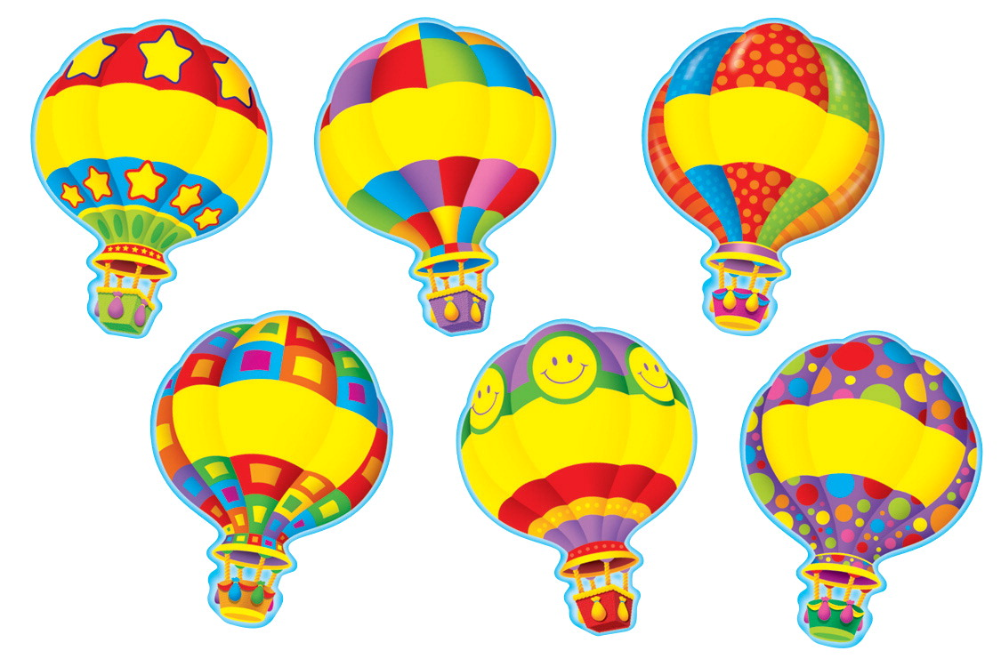 Trend Enterprises Pre-Cut Hot Air Balloons Classic Accents, Grade PreK - 6, 5-1/2 in, Pack of 36