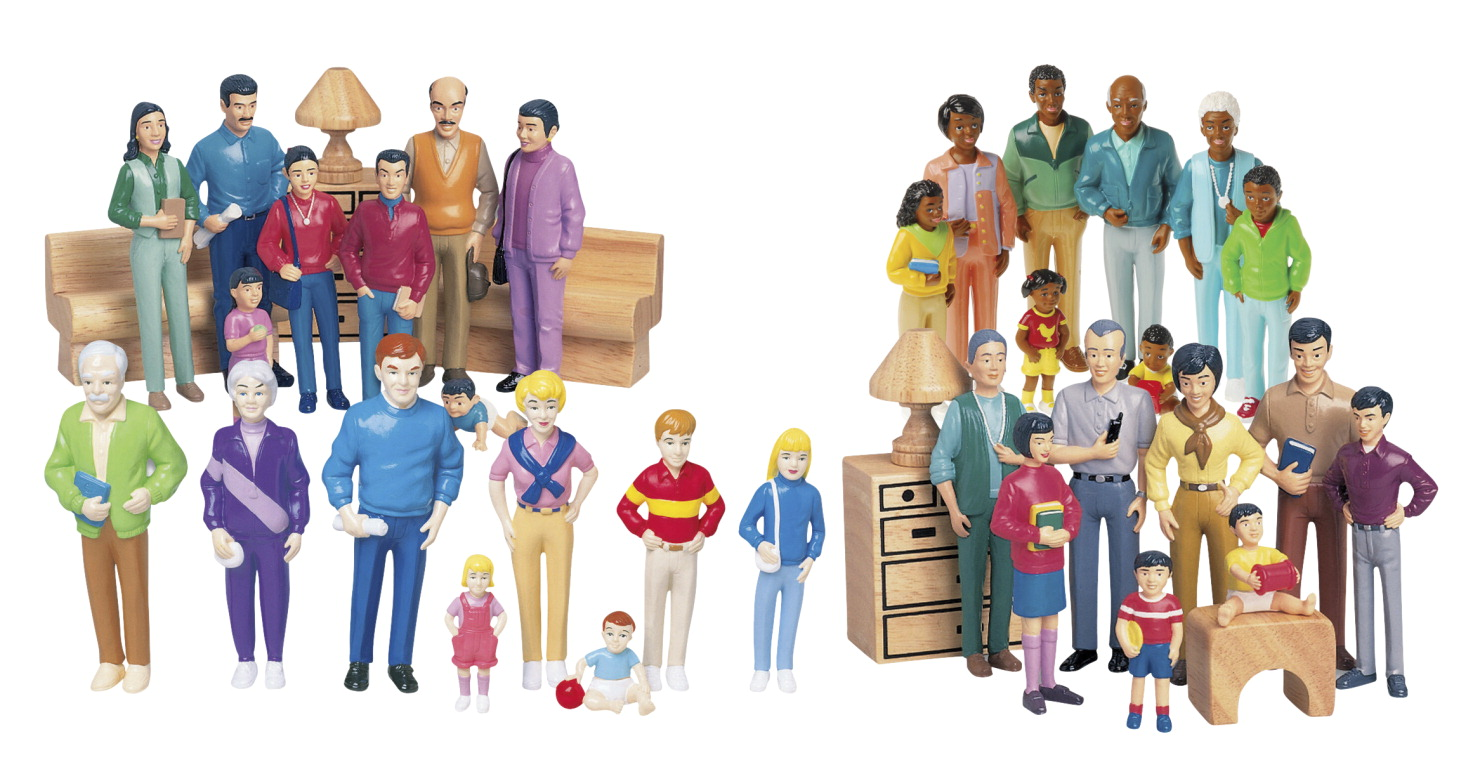 Childcraft Multi-Ethnic Family Figures Kit, Vinyl, Set of 32