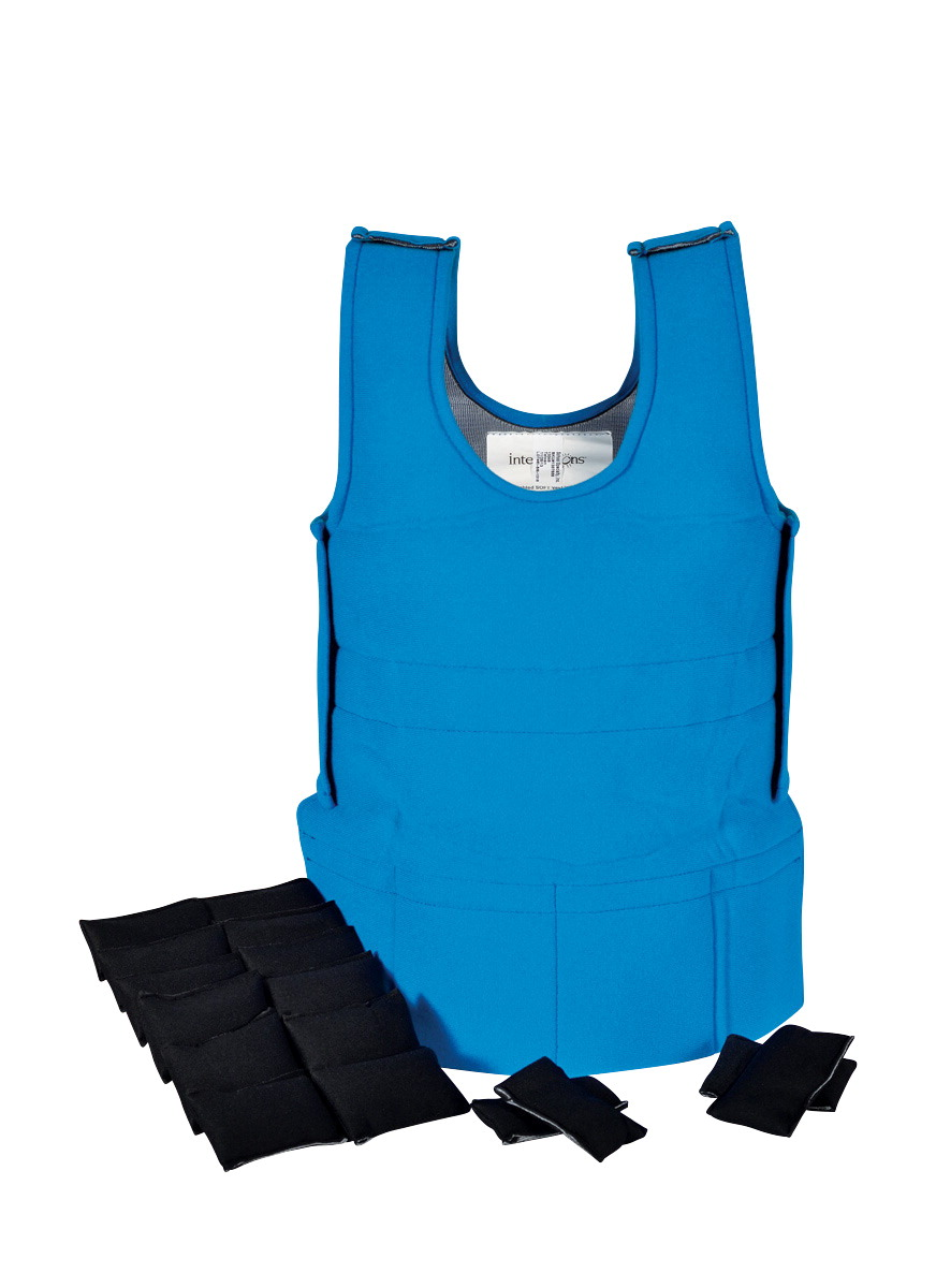 Abilitations Weighted Sensory Vest, 3 Pounds, 30 x 15 to 20 Inches, Blue, Small