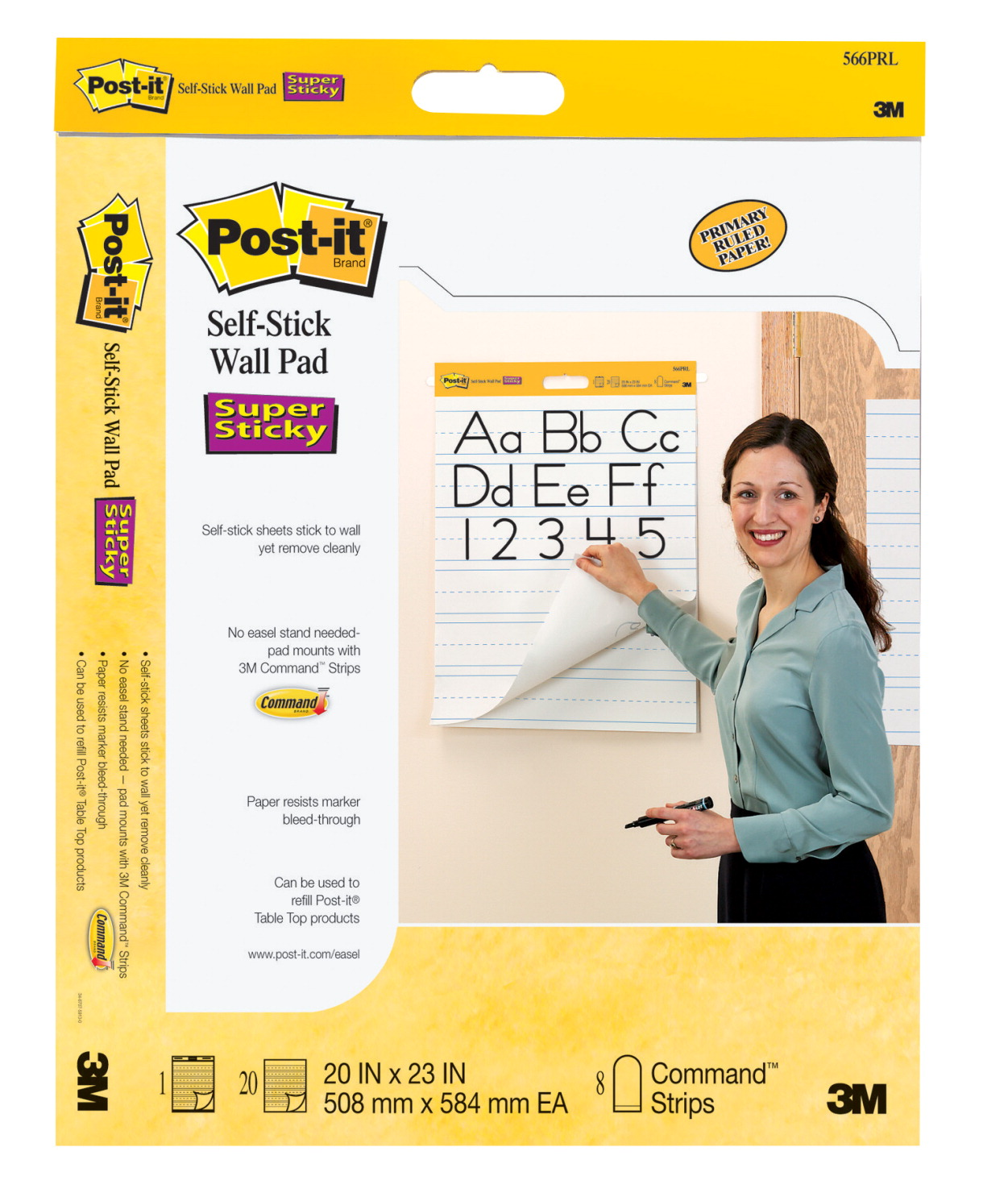 Post-it Self-Stick Primary Ruled Wall Pad, 20 x 23 Inches, White, 20 Sheets, Pack of 2