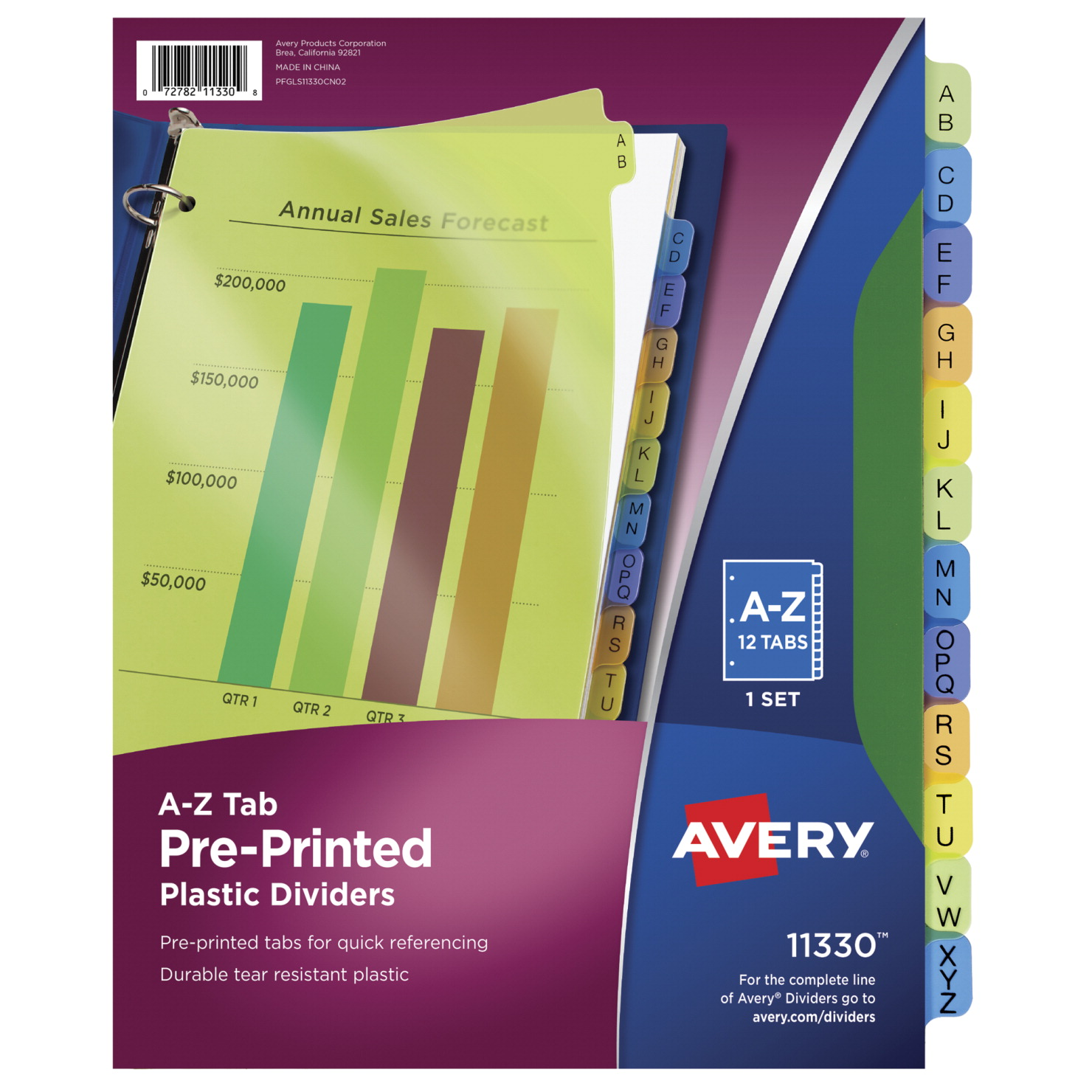 Avery Plastic Pre-printed A-Z Tab Dividers, Assorted