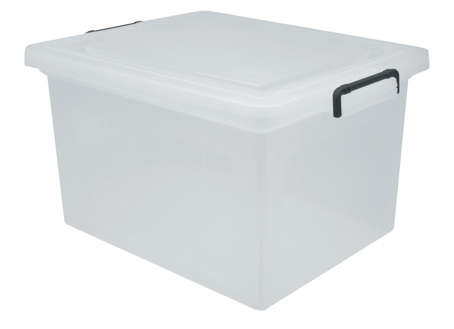 IRIS Buckled Letter/Legal Size File Storage Box, 36 Quarts, Clear/Black