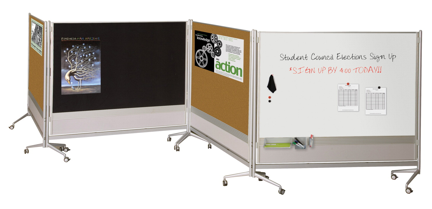 Best-Rite Double Sided Portable DOC Partition, 76 x 20 x 73 Inches, Porcelain Steel Markerboard