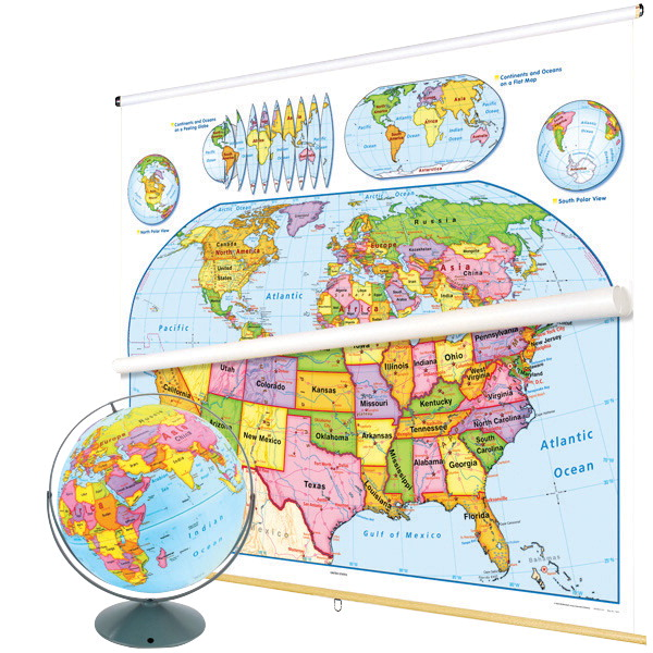 Map set classroom package soar life products nystrom united states and world map readiness classroom pack with relief globe freerunsca Image collections
