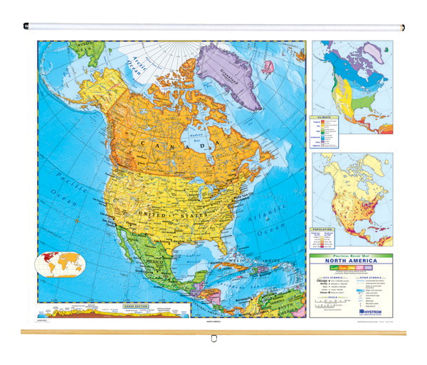 Map Of Canada America.Nystrom Political Relief Map North America