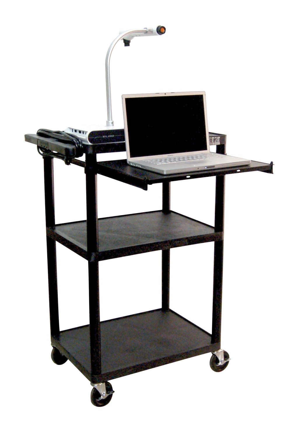 Luxor H Wilson Presentation Cart with Pull Out Front Tray, 24 in W X 18 in D X 42 in H, Black Shelves/Legs