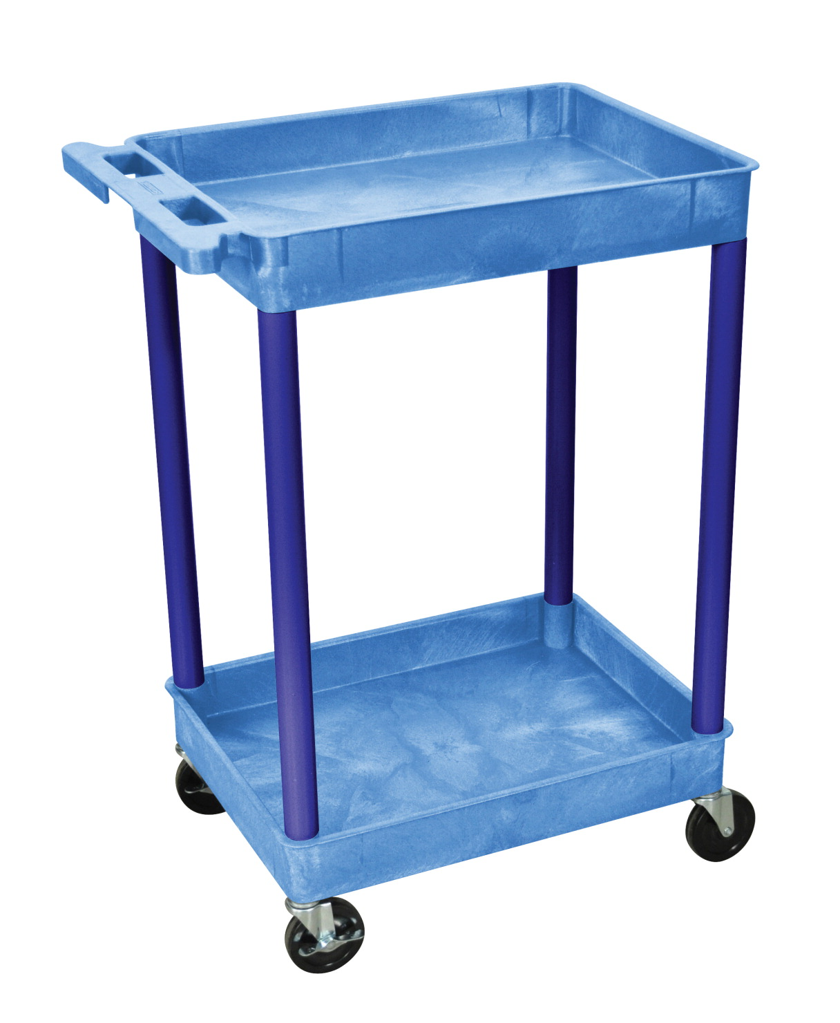 Luxor H Wilson 2-Shelves Multi-Purpose Utility Tub Cart, 24 in W X 18 in D X 37-1/2 in H, HDPE, Blue, 4 Wheel