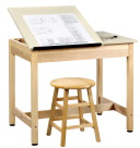 Shain 2-Piece Drafting Table, 36 in W X 24 in D X 30 in H, Solid Maple/Plastic Laminate Top, Earth-Friendly UV