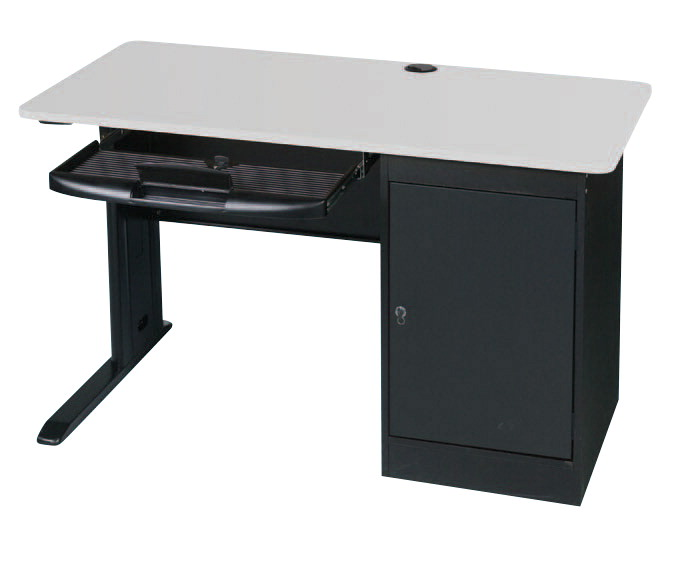 MooreCo LX Single User Computer Workstation 48 X 24 X 29 Inches, Steel Base, Laminate Top, Gray, Black Powder Coated