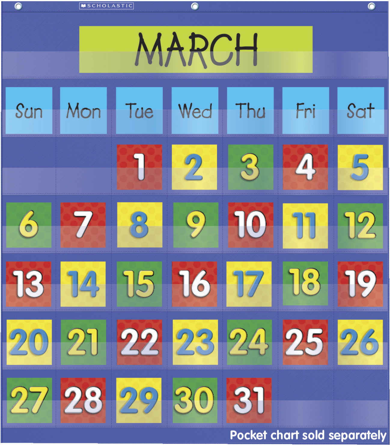 Scholastic Monthly Calendar Pocket Chart Add On Cards School Specialty Canada
