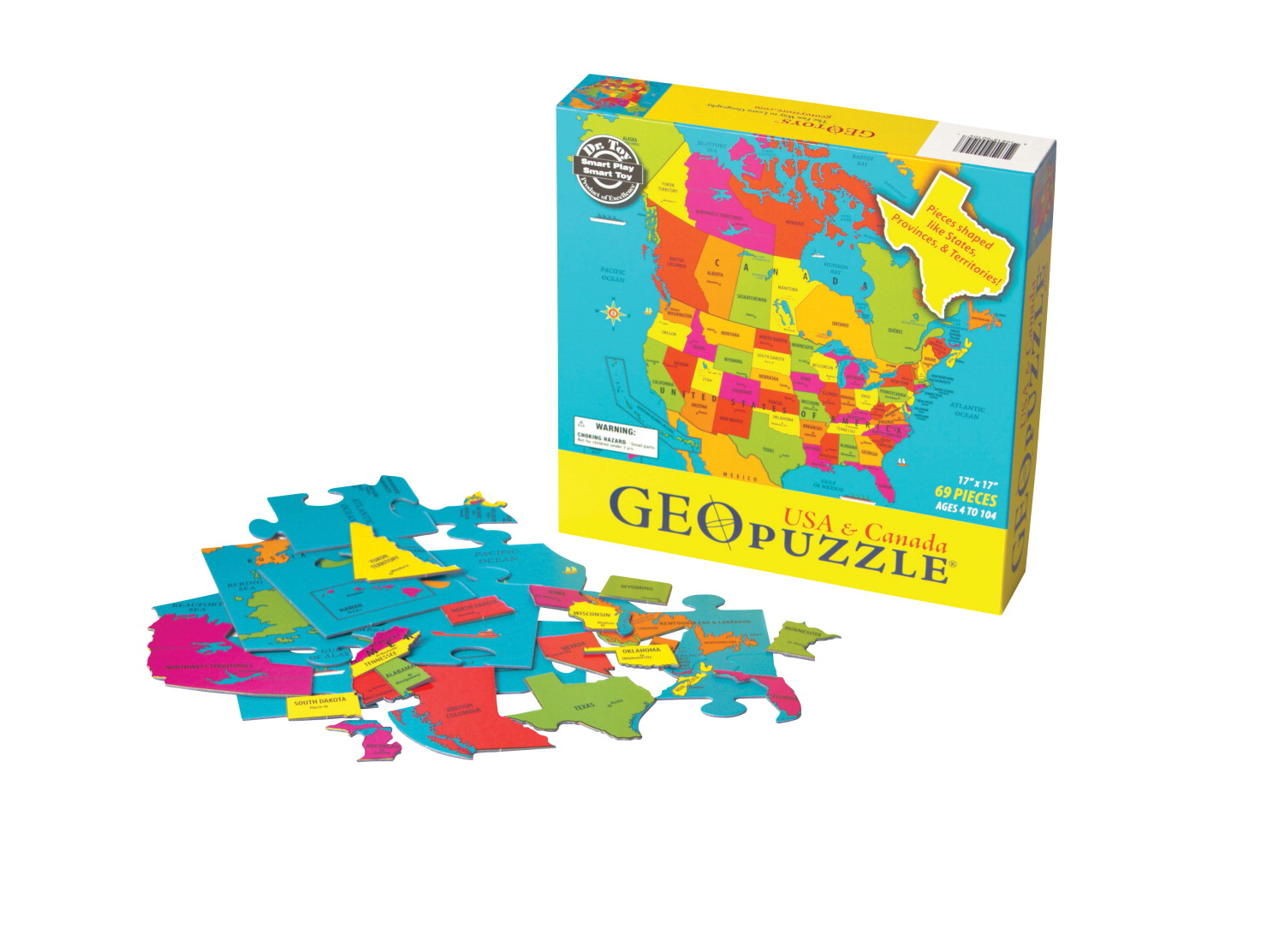 Geotoys United States and Canada Jumbo Sized Jigsaw Puzzle, 17 x 17 on country of usa, geography of usa, language of usa, mainland of usa, region of usa, physical feature of usa, continent of usa, bay of usa, population density of usa, river of usa,
