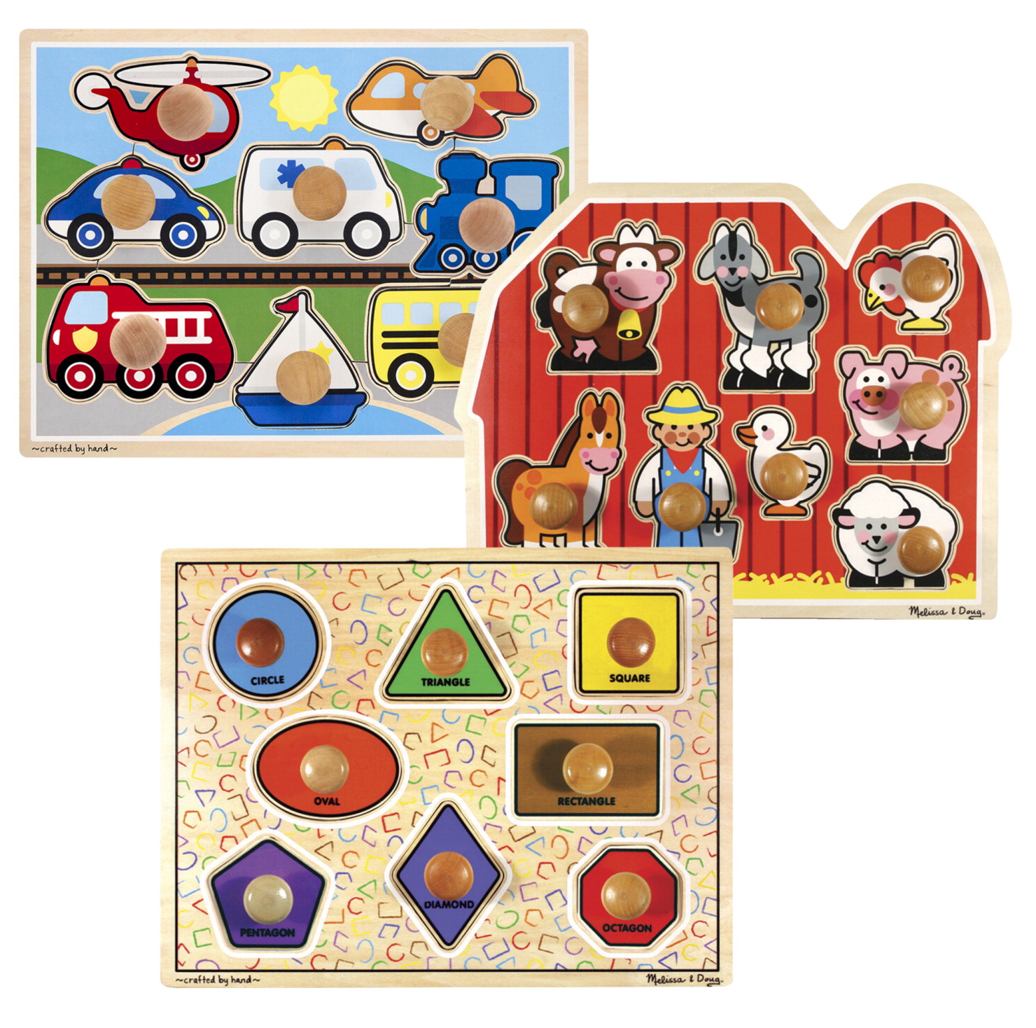 Melissa & Doug Farm, Shapes, and Fruit Jumbo Knob Puzzle Set