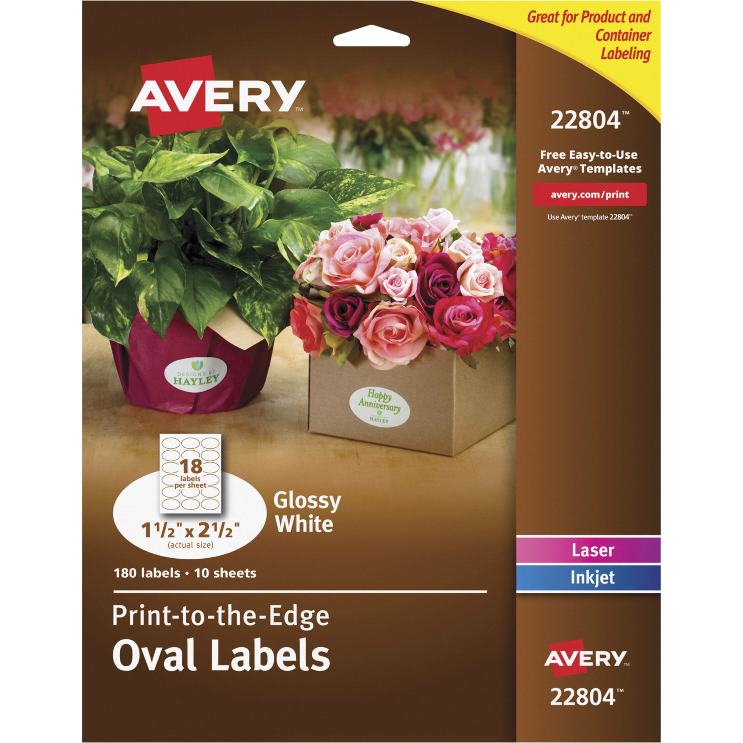 Avery Premium Easy Peel Oval Self-Adhesive Label for Laser and Inkjet  Printers, 1-1/2 X 2-1/2 in, Glossy White, Pack of 180