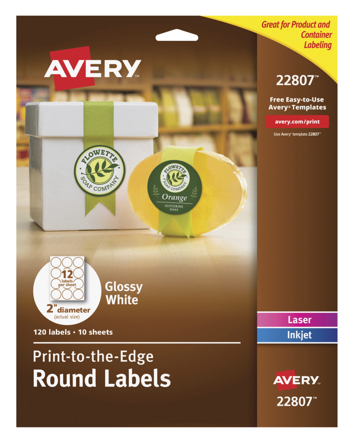 Avery Premium Easy Peel Oval Self-Adhesive Label for Laser and Inkjet  Printers, 2 in Dia, Glossy White, Pack of 120