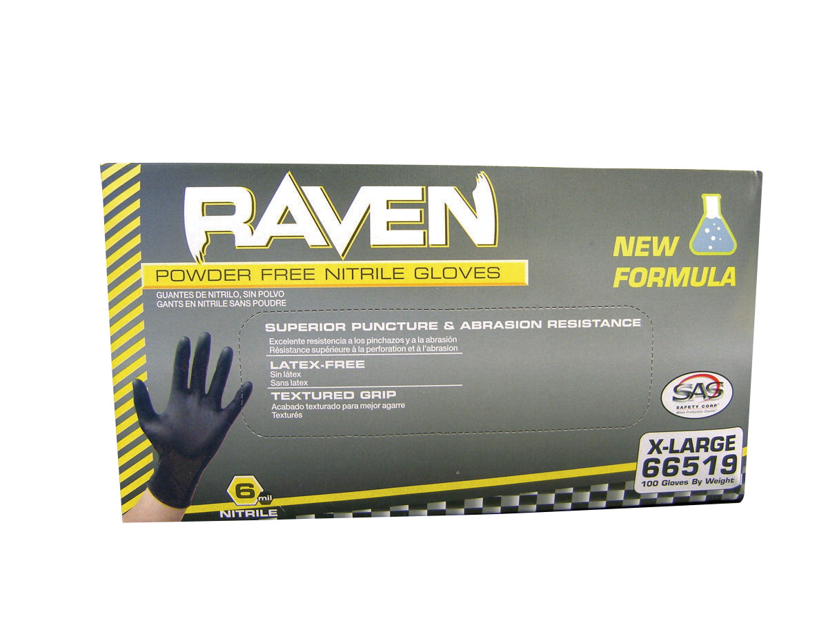 SAS Raven Disposable Latex-Free Powder Free Gloves, Medium, Nitrile, Black, Pack of 100