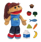 Childcraft Smart Woman Puppet and Food Props, 3-1/4 x 4-1/2 Inches, Set of 9