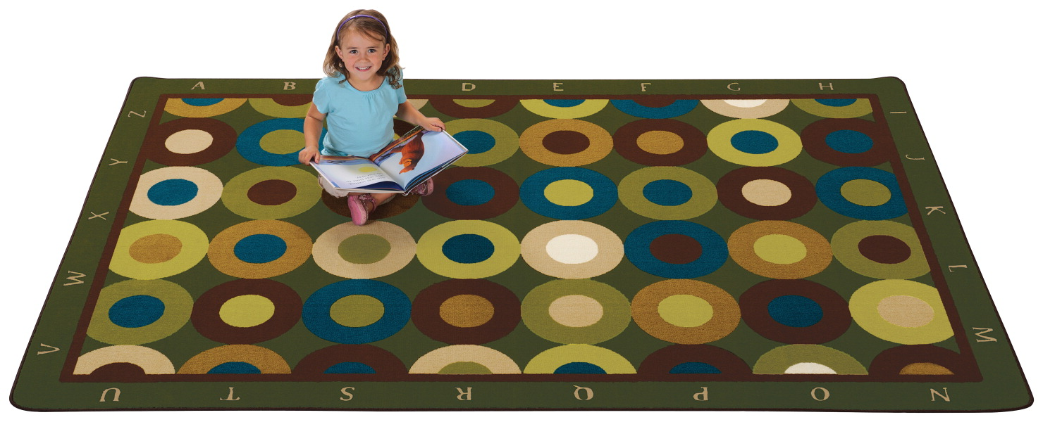 Carpets For Kids Calming Circles Carpet with Alphabet, 6 x 9 Feet, Rectangle, Nature's Color