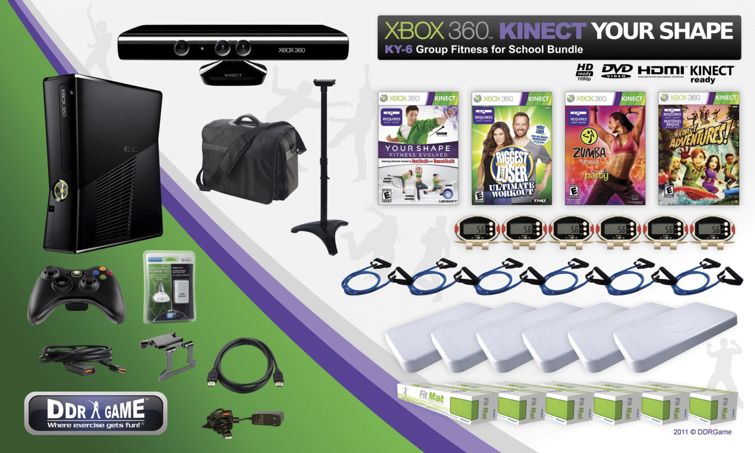 XBOX 360 Kinect Your Shape KY-6 Group Fitness for School Bundle