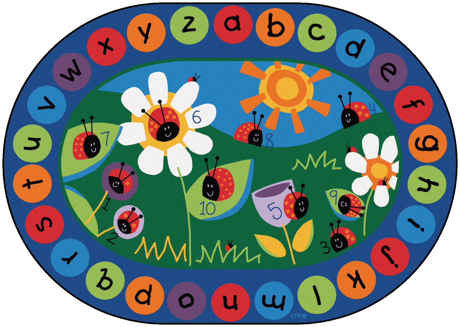 Carpets For Kids Ladybug Circletime Rug, 8 Feet 3 Inches x 11 Feet 8 Inches, Oval