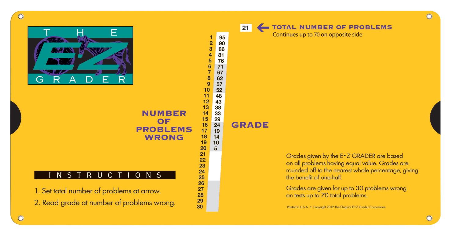 e z grader slide chart yellow school specialty canada