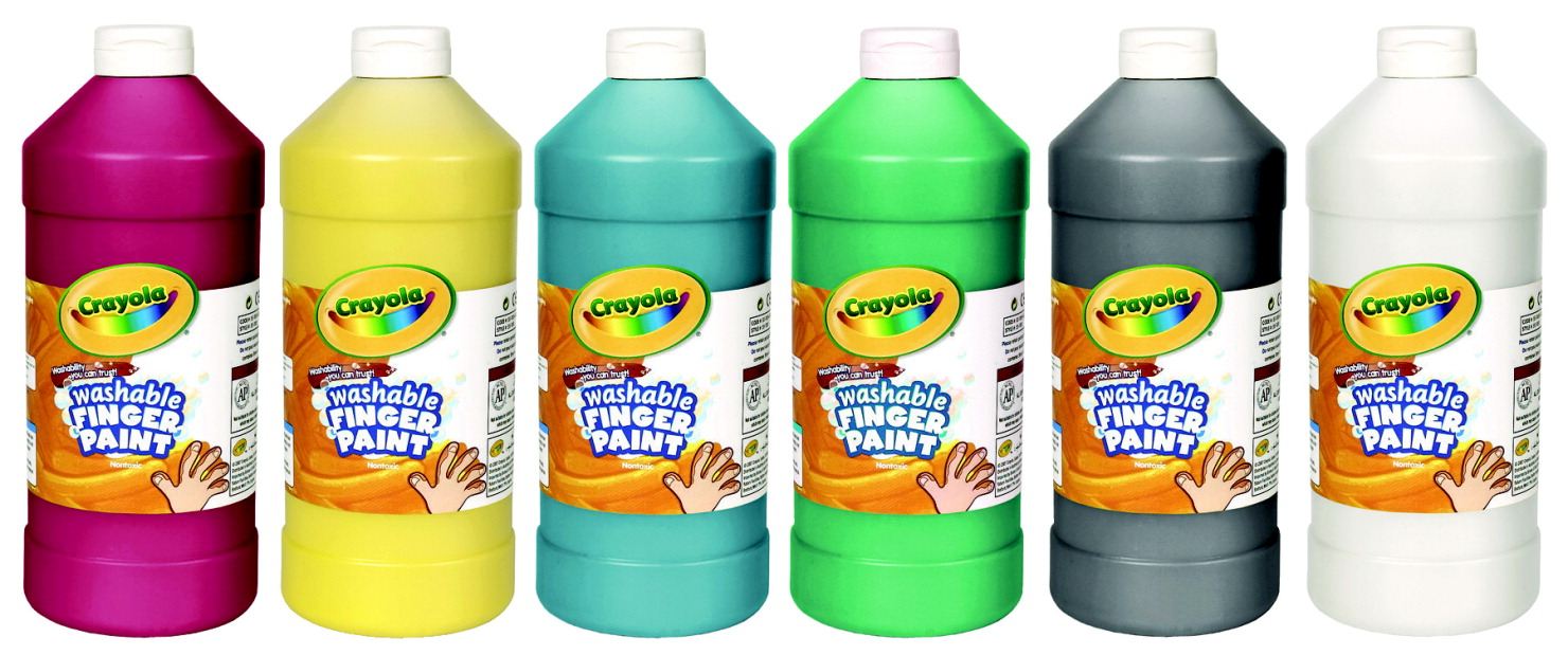 Crayola Non-Toxic Washable Finger Paint Set, 1 pt Squeeze Bottle, Assorted Bright Color, Set of 6
