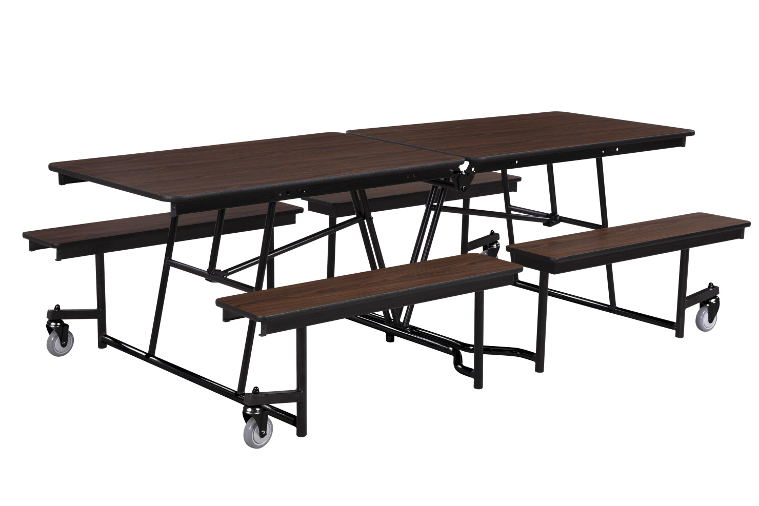 Classroom Select Rectangle Mobile Cafeteria Table with Fixed Benches and LockEdge, 12 ft L x 29 in H, MDF Core High Pressure Laminate Top, Black Powder Coated Frame