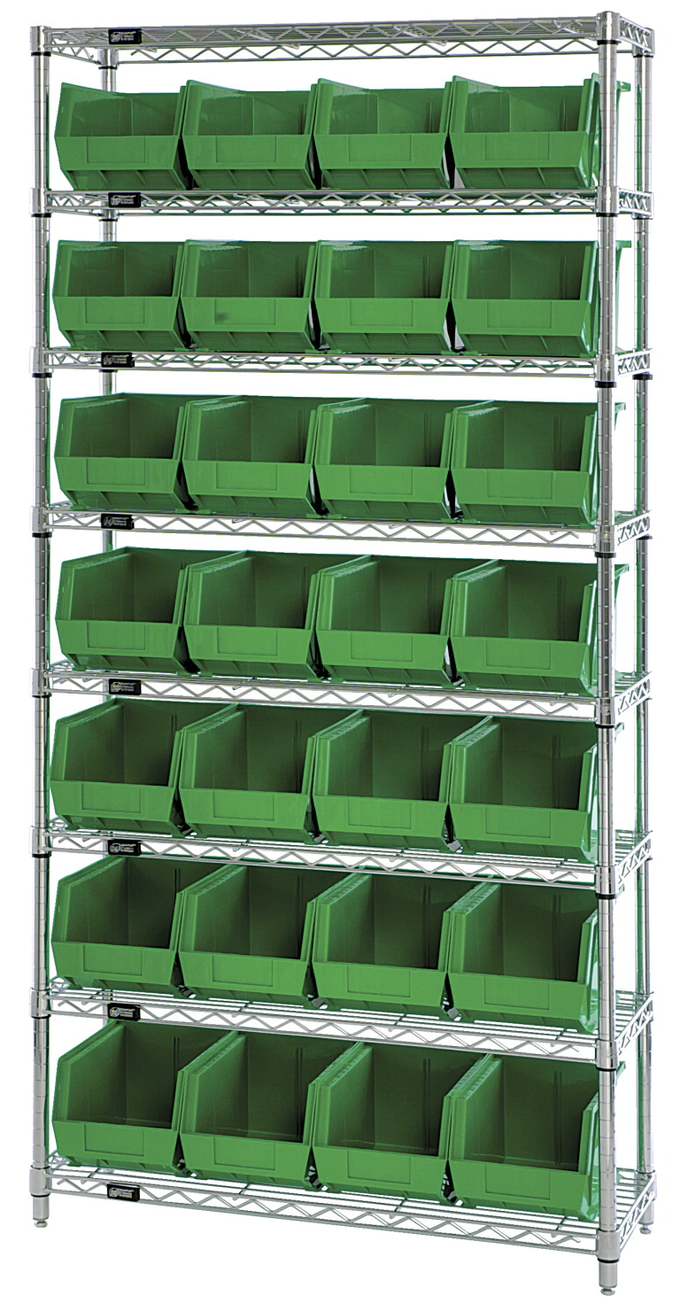 Quantum 8-Shelf Storage Shelf Unit with 28 Bins, 36 x 12 x 74 Inches, Various Options