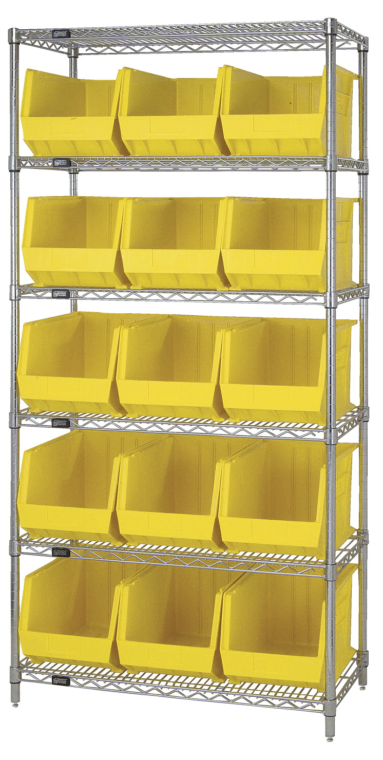 Quantum 6-Shelf Storage Shelf Unit with 15 Bins, 36 x 18 x 74 Inches, Various Options