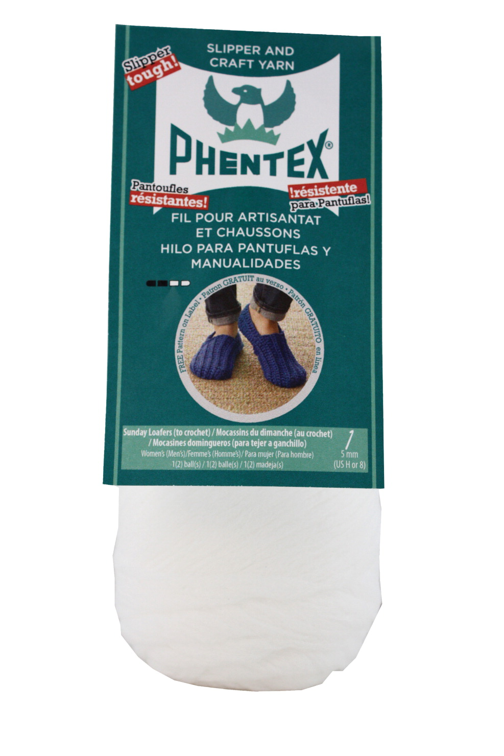 Phentex Olefin Dryable Machine Washable Craft Yarn, 167 yd, White, 3 oz