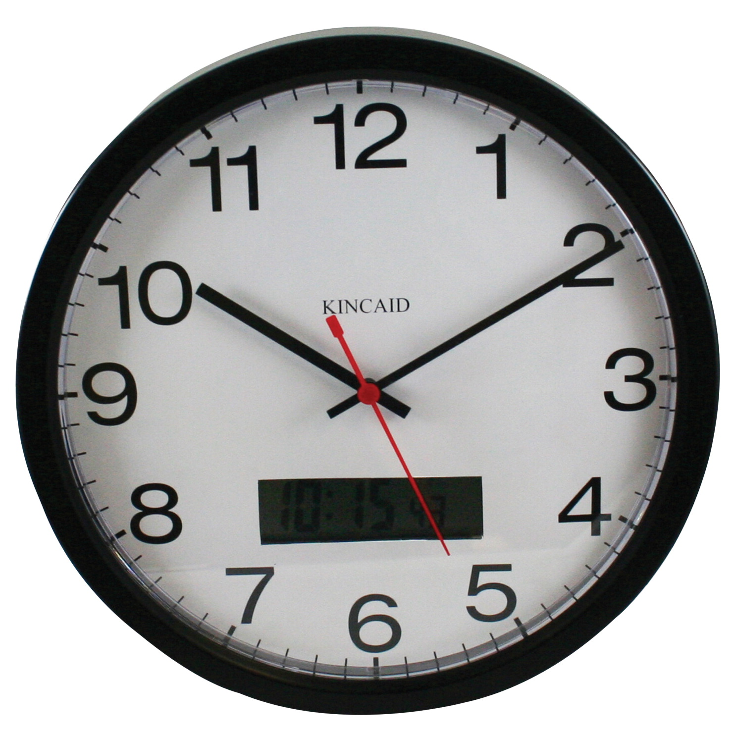 Wall clock classroom direct kincaid digital day and date display wall clock 12 in plastic frame plastic amipublicfo Choice Image