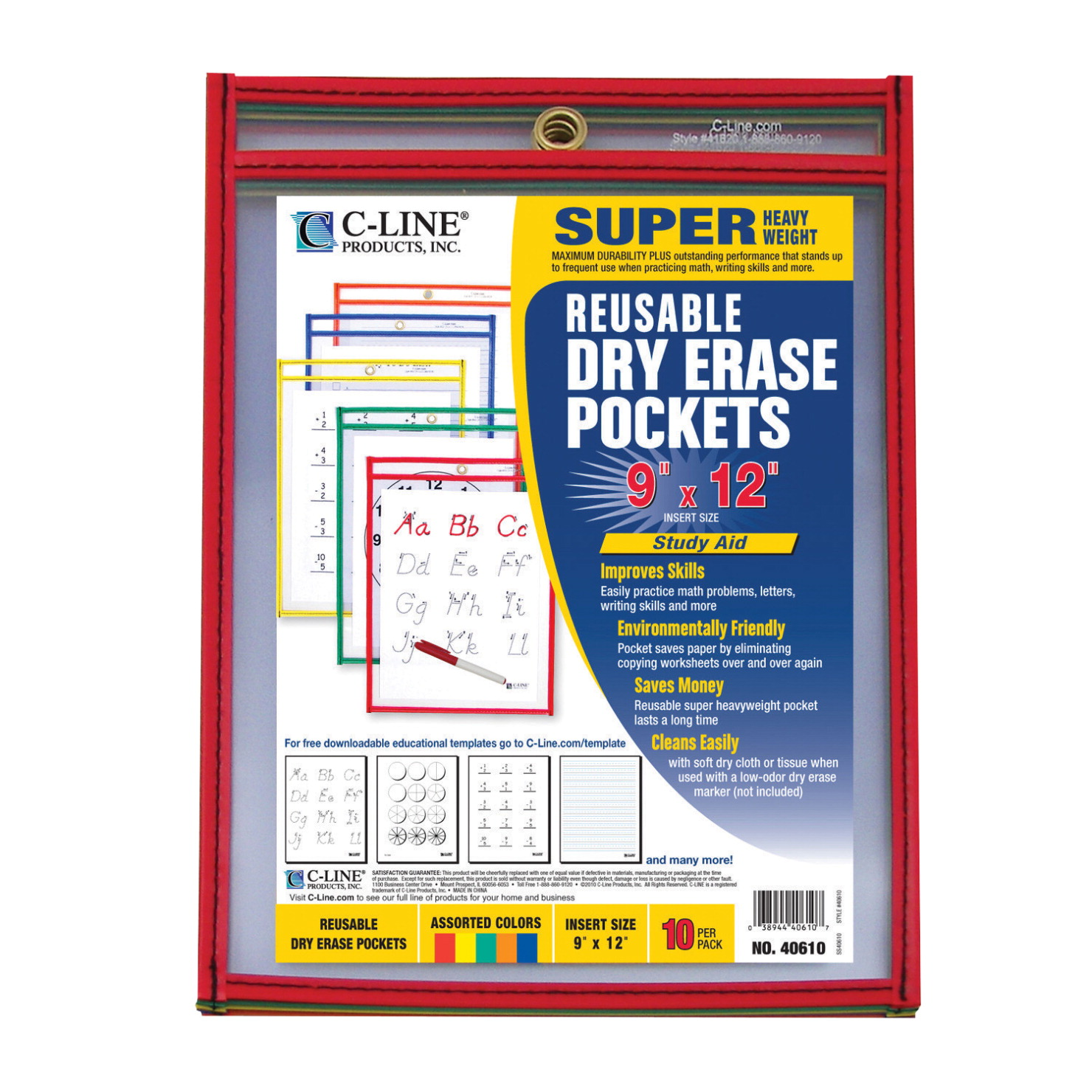 C-Line Dry Erase Pockets, Assorted Primary Colors, 9 x 12 Inches, Pack of 10