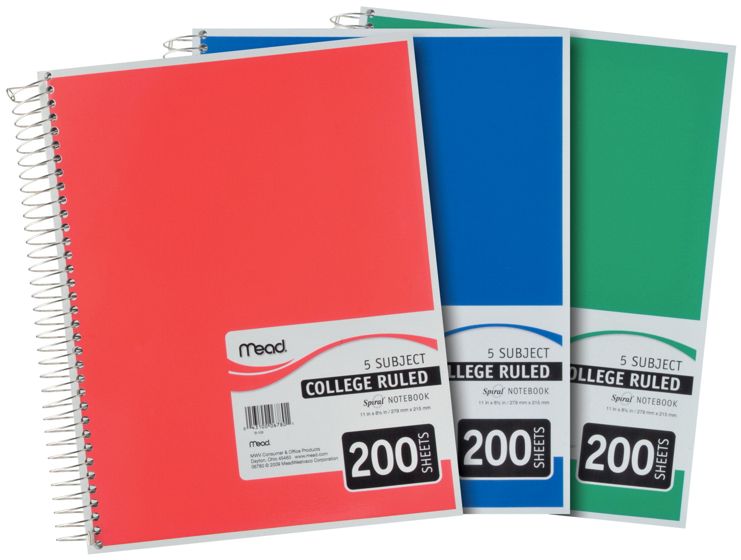 Details about Mead 5 Subject Wirebound College Ruled Notebook, 200 Sheets,  8-1/2 x 11 Inches,