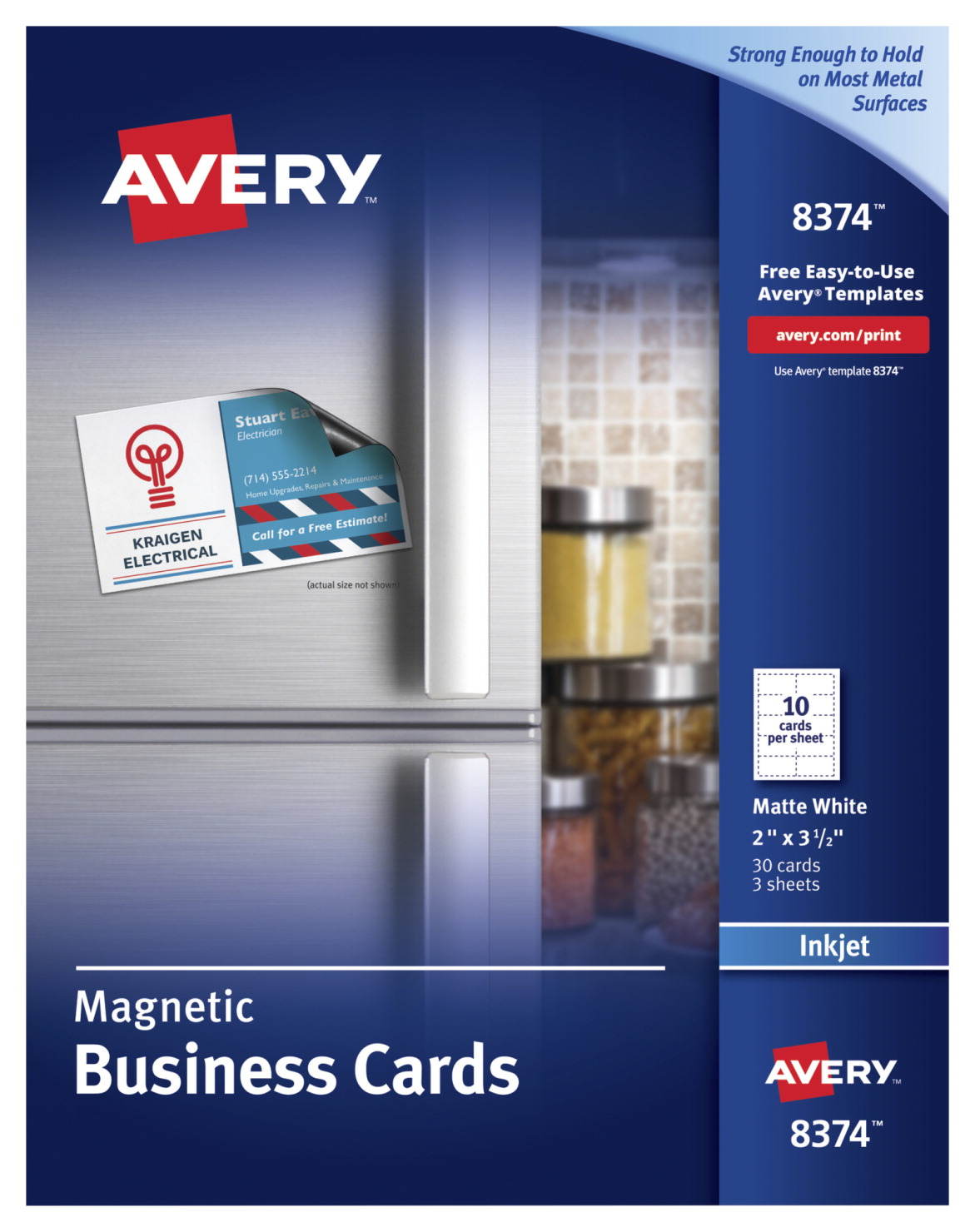 Avery Magnetic Business Cards For Inkjet Printers, White - SCHOOL ...