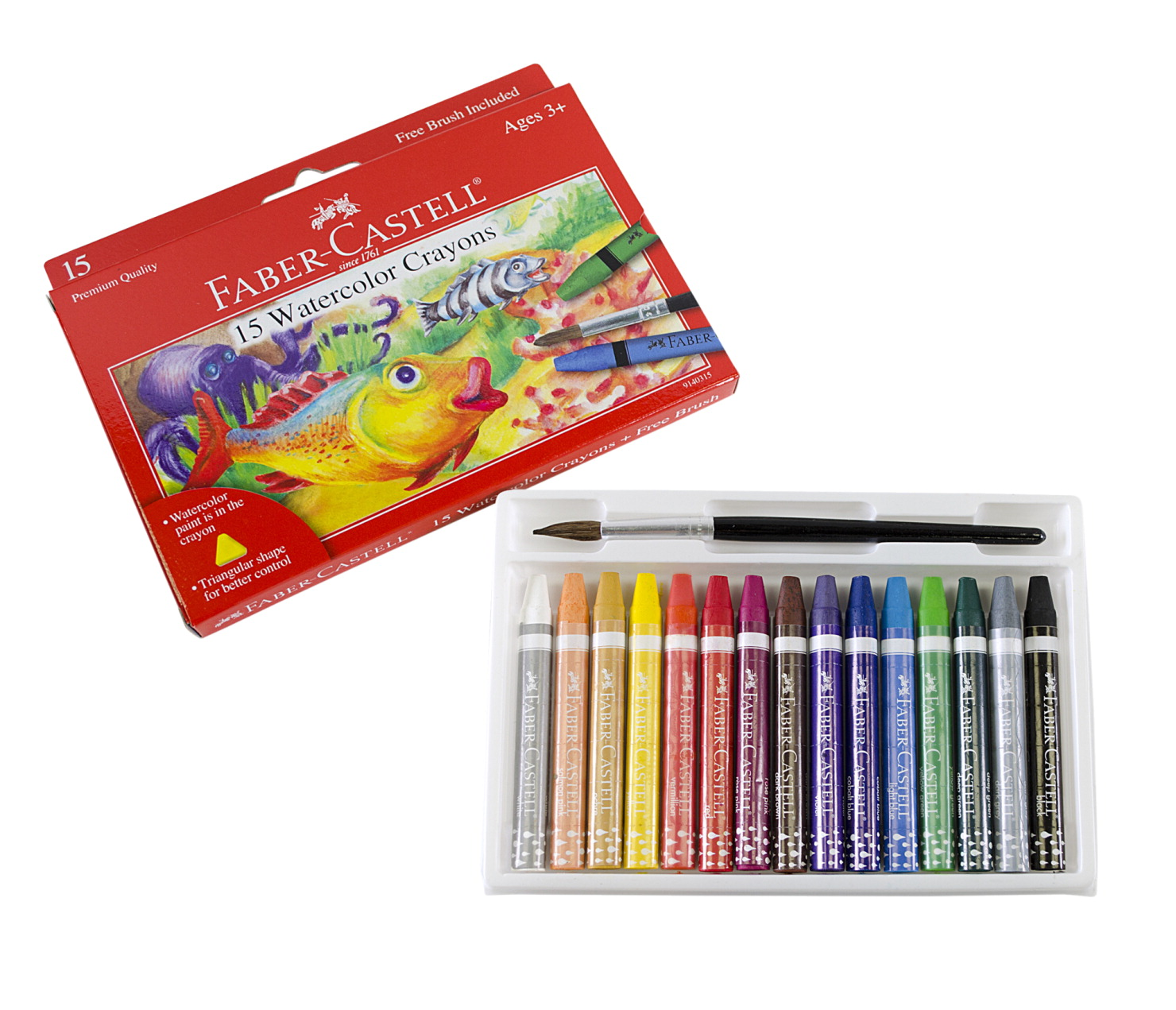 Faber-Castell Watercolor Crayon, Assorted Color, Set of 15