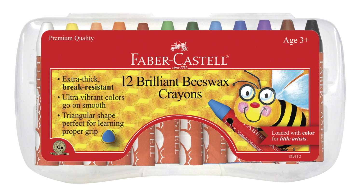 Faber-Castell Jumbo Triangular Beeswax Crayon, Assorted Colors, Set of 12