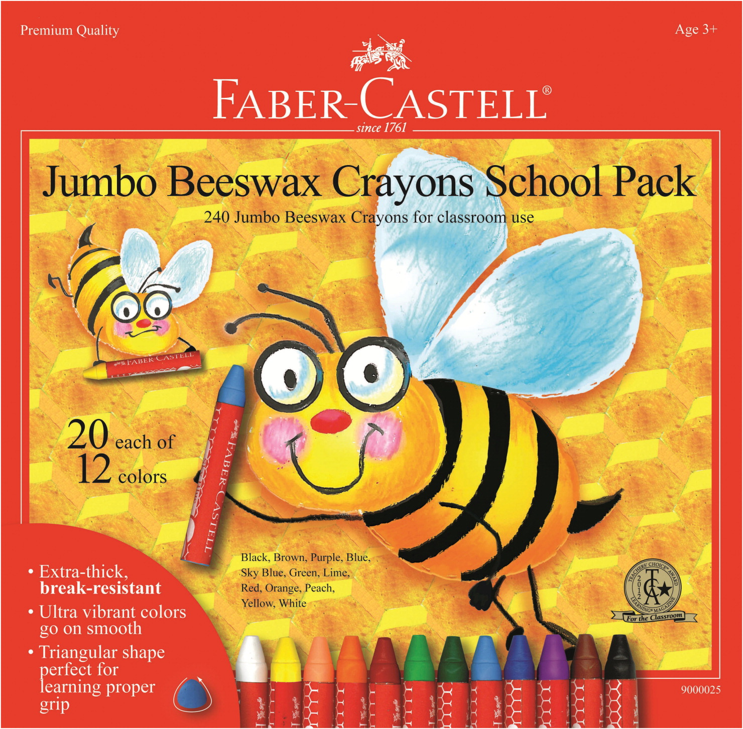 faber castell jumbo triangular beeswax crayons assorted colors