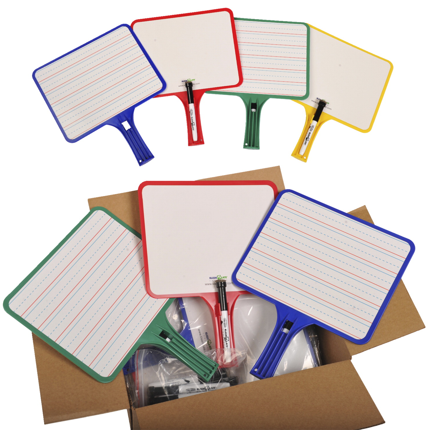 Kwik Chek Rectangular Lined Dry Erase Paddle with (32) Markers, 12 1/2 X 10 in, Assorted Colors, Pack of 32