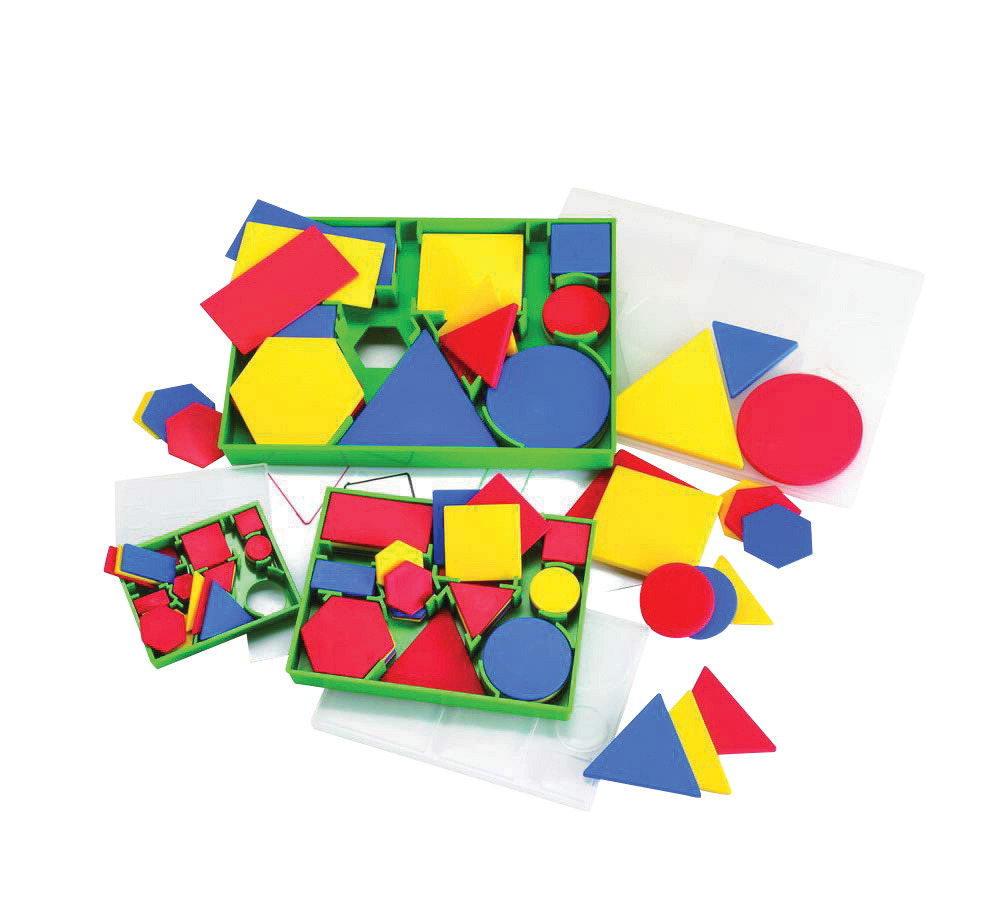 Childcraft Attribute Block Math Toys for Kids, Assorted Colors, Set of 30