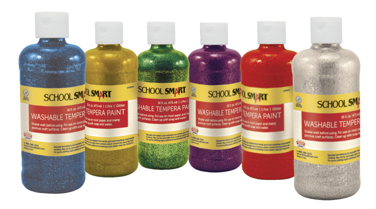School Smart Non-Toxic Washable Tempera Paint Set, 1 pt 1 pt Plastic Bottle, Assorted Glitter Color, Set of 6