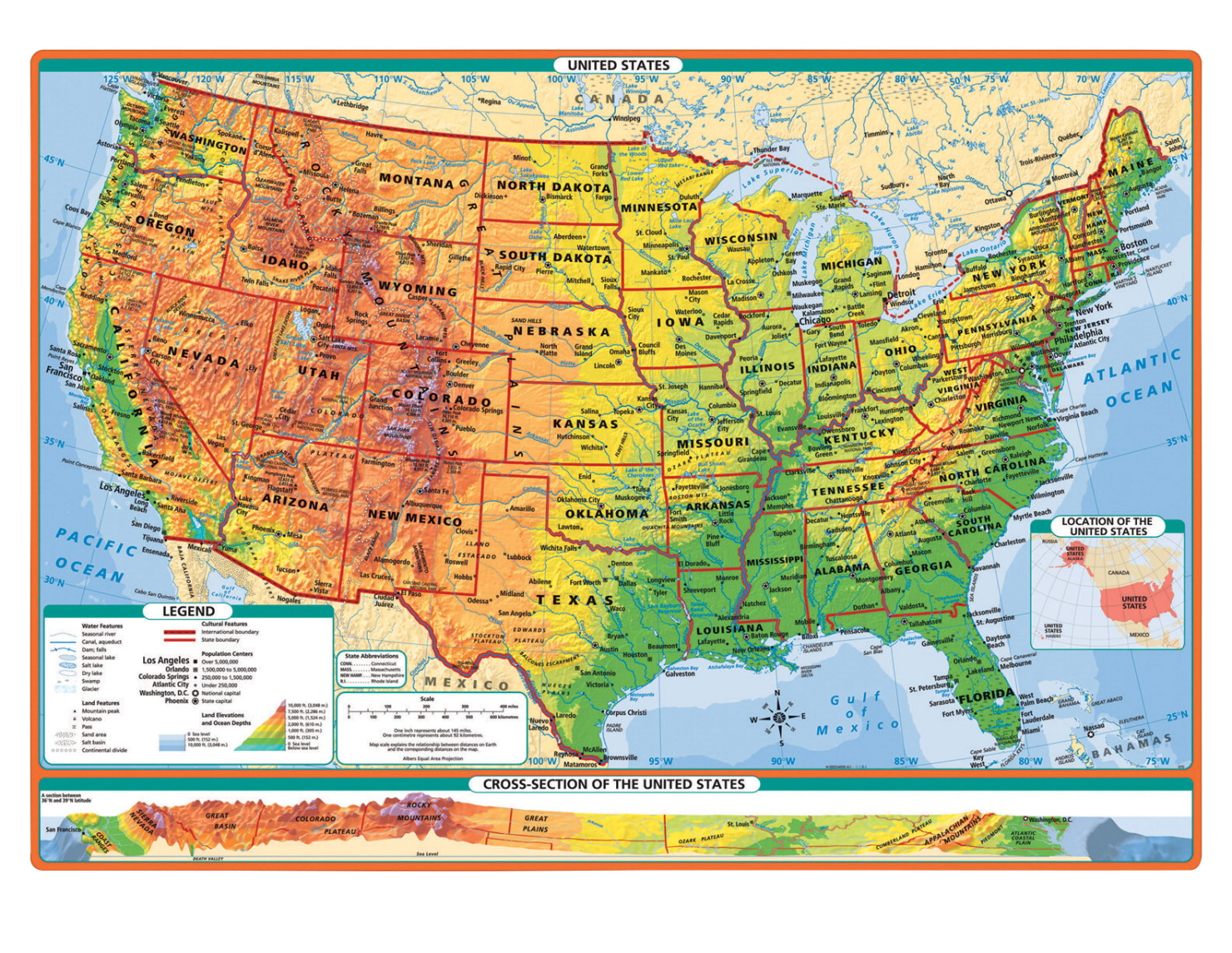 Desk Map School Specialty Canada - World-map-with-us-in-center