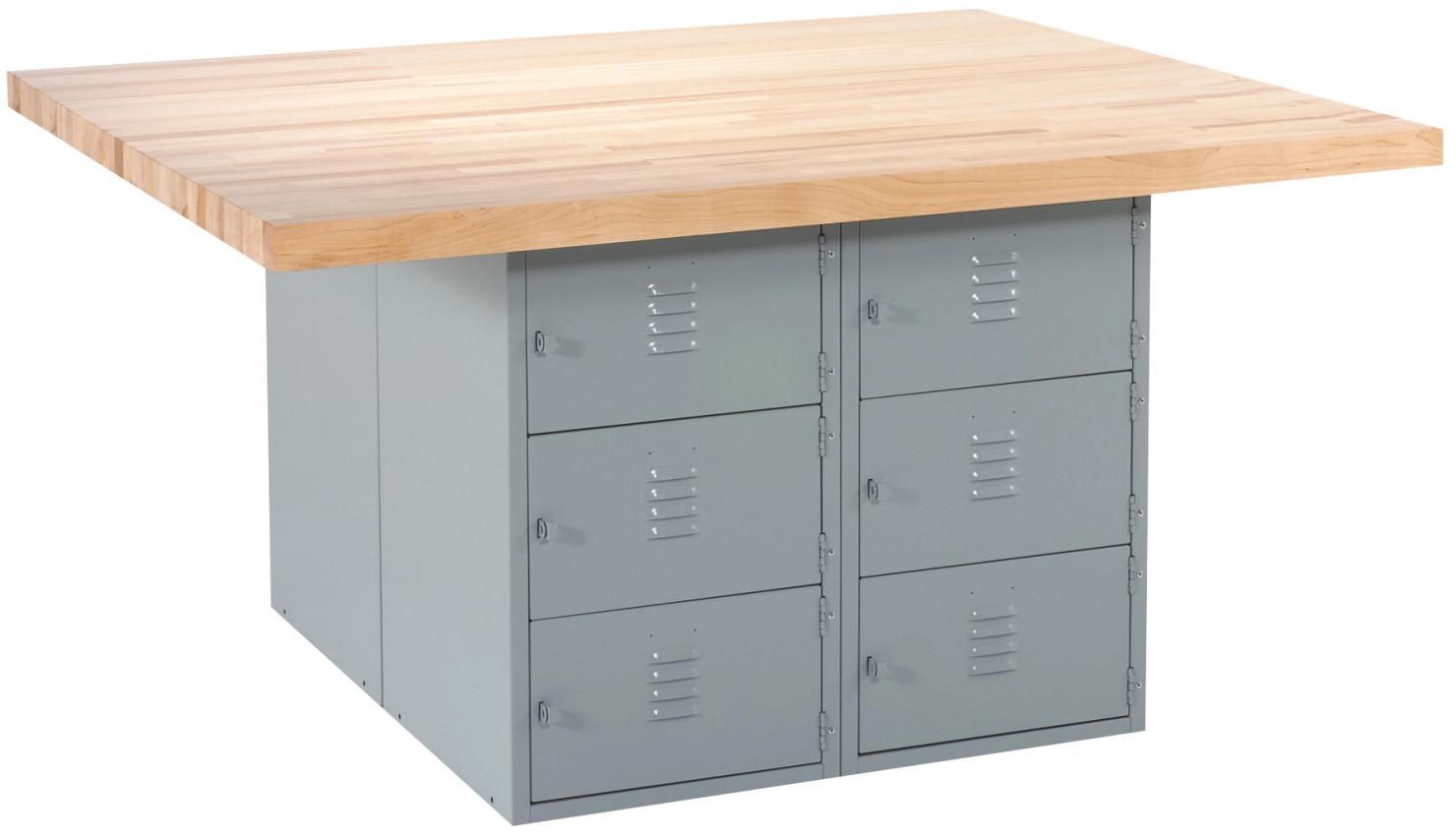 Diversified Woodcrafts 4 Station 12 Locker Workbench with 4 Vises, 64 x 54 x 33-1/4 Inches, Various Options