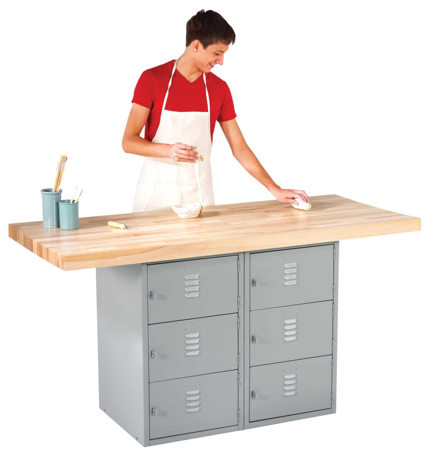 Diversified Woodcrafts 2 Station 6 Locker Workbench, 64 x 28 x 33-1/4 Inches, Various Options