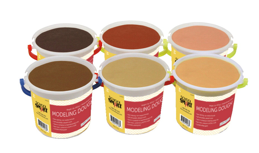 School Smart Multi-Ethnic Modeling Dough Set, 1 Pound, Assorted Skin Tones, Set of 6