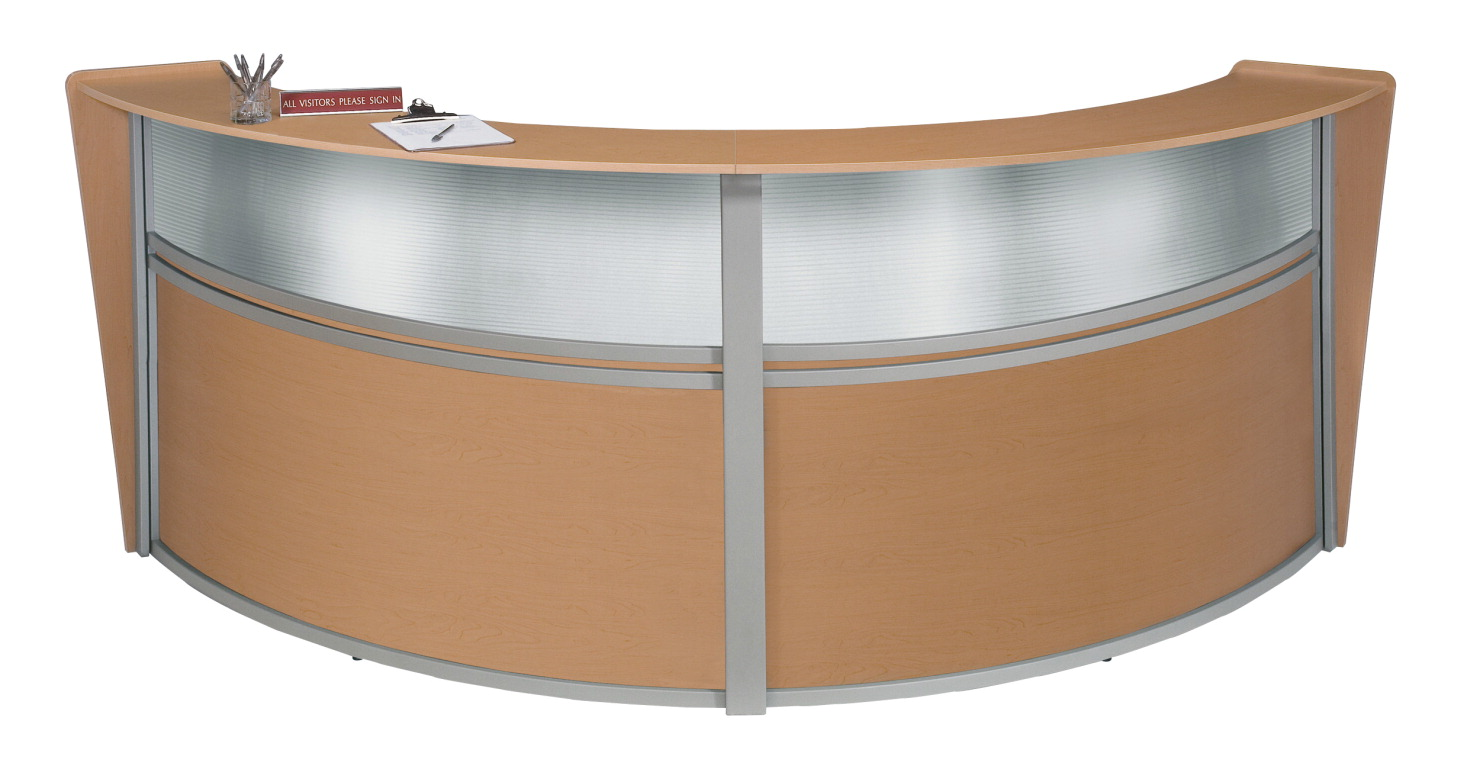 OFM Marque Curved Double Plexi-Reception Station, 124-1/4 x 49 x 45-1/2 Inches, Various Options