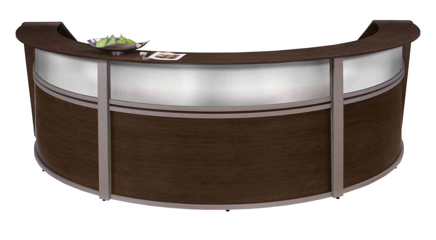 OFM Marque Curved Triple Plexi-Reception Station, 143-1/3 x 71 x 45-1/2 Inches, Various Options