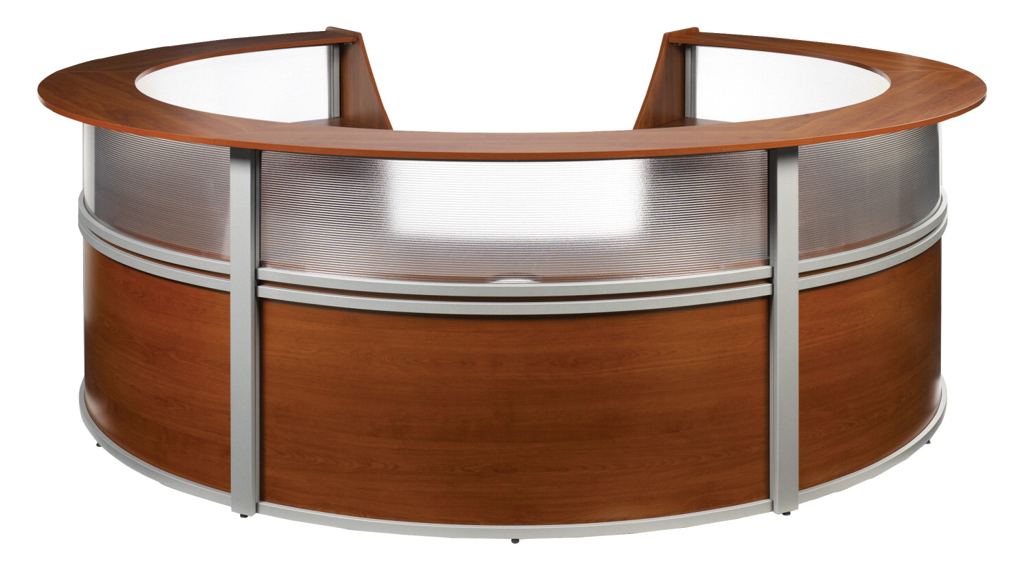 OFM Marque Curved 5 Unit Plexi-Reception Station, 142 x 133 x 45-1/2 Inches, Various Options