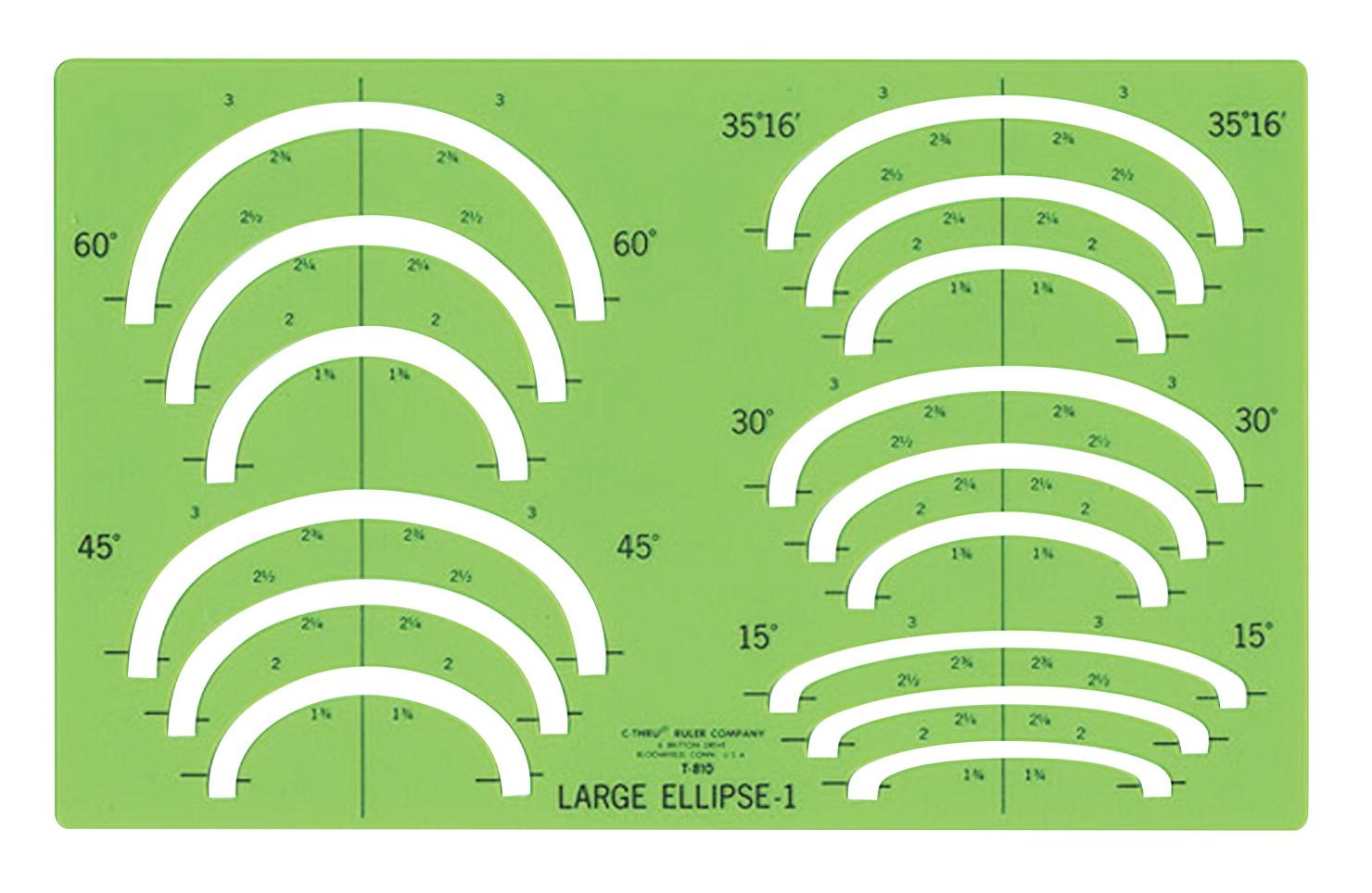 1//4 Inches Westcott Plastic Designer Template Green
